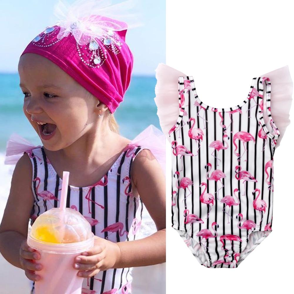 Flamingo Swimming Costume Age 2 Years New Pink Girls Glitter