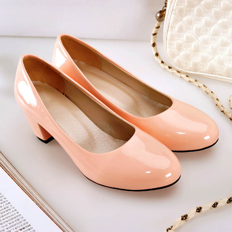 2014 Hot sale new Shoes Woman Office ladies med heels shoes OL chunky heels Patent leather spring autumn Sweet comfort pumps<br><br>Aliexpress