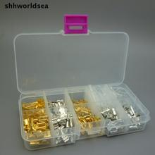 shhworldsea 150PCS 6.3MM 2.8MM 4.8MM 4.0MM Mix 10 kinds Female Male Spade Connector copper terminals Splice Crimp Wire Terminal