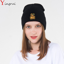 Hipsters Knitted Slim Beanies Embroidery Monkey Hip Hop Hat Couples Slouchy Bonnet Outdoor Skiing Chapeu Cap Skullies Cap(China)