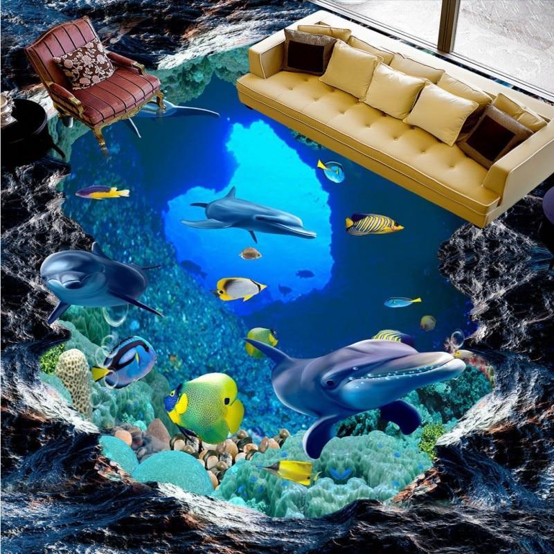 Free Shipping Underwater world 3D floor wallpaper bathroom hotel decoration waterproof wear floor mural<br>