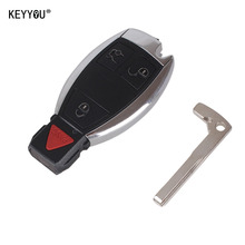 KEYYOU Replacement 3+1 4 Buttons Smart Remote Car Key Shell Case Fob For MERCEDES BENZ KEY FOB 4 BUTTON Keyless Entry