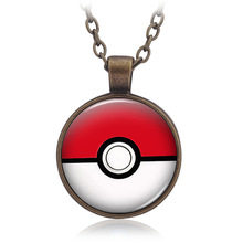 Halloween gift Anime Pokemon Necklace Glass Cabochon Pendant Jewelry Cartoon Poke Ball Accessories for adult and child(China)
