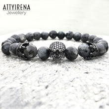 Men CZ Skull Charm Bracelets India Labradorite 8mm Natural Stone Light Beads European Buddha Bracelet For Men Handmade Bracelets