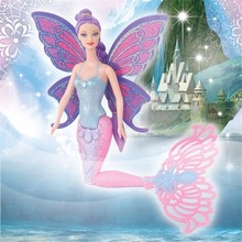 2016 Fashion Mermaid Doll With Butterfly Wing And Flexible Tail Girl's Toy Classic Princess Mermaid Doll For Girl's Xmas Gifts(China)