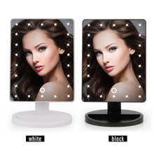 360 Degree Rotation Touch Screen Makeup Mirror Makeup Tool Vanity Table Mirror With 16 LED Lights(China)
