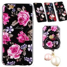 Luxury Flower Pattern Bling Crystal Diamond Soft TPU IMD Back Case w/ Finger Ring Stand Holder for iPhone 5S SE 6 6S 7 8 Plus(China)