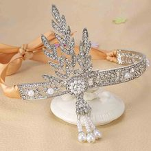 The Great Gatsby Bridal Hair Accessories Crystal Pearl Tassels Hair Headbands Hair Jewelry Wedding Brides Hairband Tiaras Crowns(China)