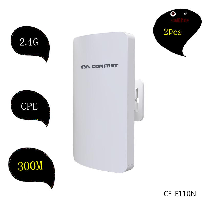 2PCS COMFAST mini wireless bridge outdoor CPE wifi router repeater 2.4G 300M for IP camera project long range transmissission<br>