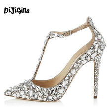 Summer designer women pumps sexy high heels dress shoes high quality wedding rhinestone shoes stilettos(China)