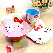 Hello Kitty, Gemini children drop resistance melamine salad bowl, plates, dishes, cups, cutlery sets kitchen utensils