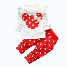 2017 Rushed Promotion 2Pcs Sets Character Full Vestidos Kids Sport Wear Garment Fashion Minnie Baby Clothing Set Suit Clothes