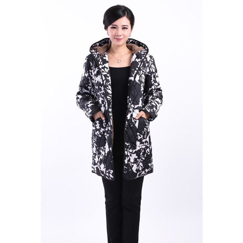 Womens basic jacket coat fashion female model in the long-term middle-aged cotton hooded jacket large jacket LOWLUVÎäåæäà è àêñåññóàðû<br><br>