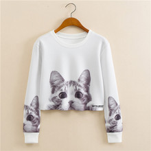 Hitz European style round neck pullover long-sleeved gray kitty printing women's fashion short paragraph Sweatshirts