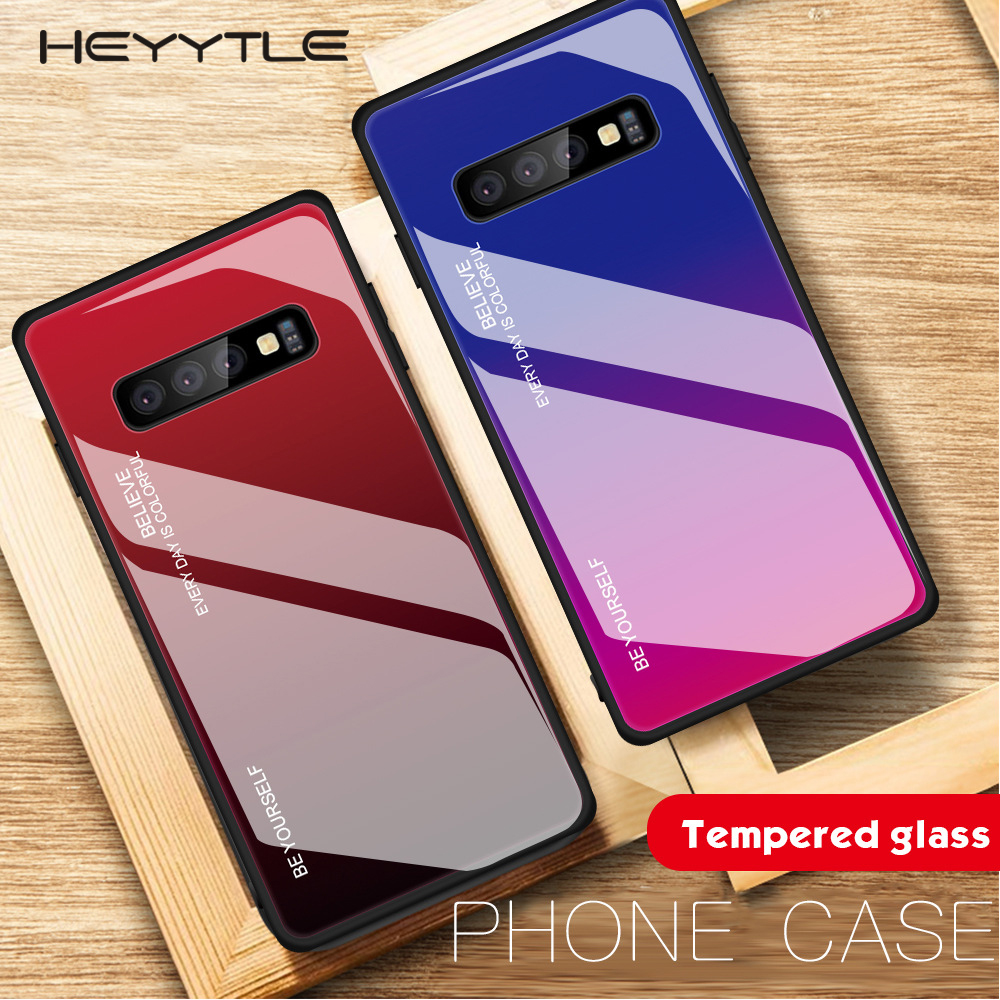 Luxury Gradient Case For Samsung Galaxy S10 S9 S8 Plus S10E Note 9 8 Tempered Glass Cases For Samsung A7 A9 A6 A8 J8 Cover Coque(China)