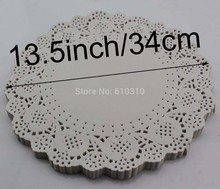 Free shipping 13.5 inches/340mm Vintage napkin Hollowed Lace Paper mat Crafts paper Doilies Wedding Decoration(100pcs/bag)