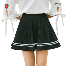 Buy Summer Short Skirt Womens Black White Adult Tulle A-line Pleated Skirt Elastic High Waist Pleated Chiffon Mini Skirt for $14.62 in AliExpress store
