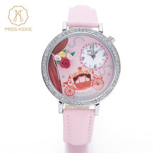 MISS KEKE geneva 2016new clay cute 3D mini world clock Rhinestone watches for woman Relogio Feminino Ladies Wristwatches 1069(China)