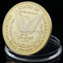 Iron with 24K fine gold Free Shipping 30PCS Morgan coin Year 1896, 100 MILLS.999 Gold-Plated American eagle coin,souvenir coin(China)