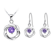 New Arrival Fresh Style Prevelant Women White Gold Jewelry Sets Twisted Hollow Round Hanging CZ Stone Wedding Party Best Chioce