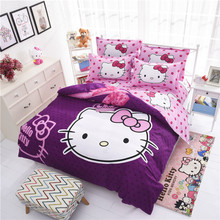 Factory Sale Cheap Cartoon Bedding Set 3d Hello Kitty Bedclothes Bed Linen 4pcs Duvet Cover Bed Sheet Pillowcase Free Shipping
