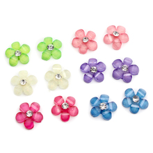 20pcs/lot 10mm resin flower with rhinestone flatback cabochon for DIY phone,nail art decoration 003018038(China)
