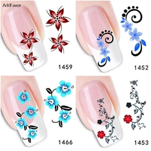 AddFavor 6Sheets Fingernail Sticker Bright Blue Cyan Red Flowers Nail Art Decoration Decals Makeup Tools Foil Manicure Stickers