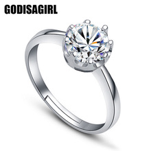 Fashionable queen Silver Plated Cubic Zirconia Rings Shining Finger Ring for Fashion Women Jewellery