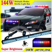 46inch 144W Car Roof Led Strobe Lights Bar Police Emergency Warning Fireman Flash Led Trailer Lights 12V Led Police Lights Bar(China)