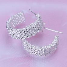 Free Shipping Fashion jewelry silver color silver plated earrings Weaved Web stud earing brincos floating charms(China)