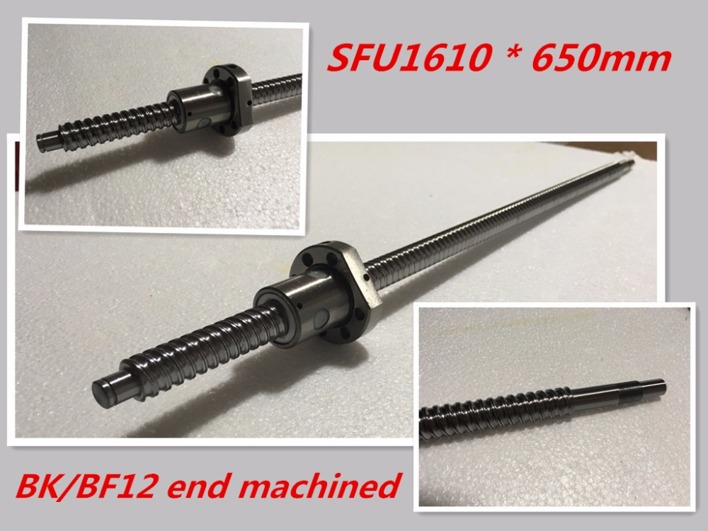 SFU1610 650mm Ball Screw Set : 1 pc ball screw RM1610 650mm+1pc SFU1610 ball nut cnc part standard end machined for BK/BF12<br>