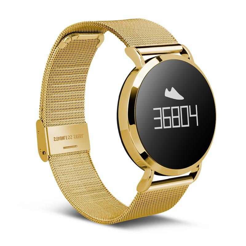 JAYSDAREL CV08 Heart Rate Monitor Smart Watch OLED IP67 Round Bluetooth Fitness Tracker for Android iOS<br>