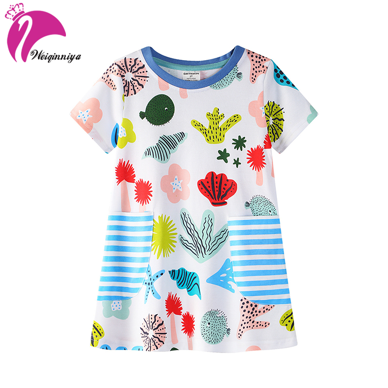 Girls Dress Casual Baby Girl Sports Dress Summer Cartoon Pattern Dresses For Girl Cotton Cute Girls Dresses Clothes For Kids Hot<br>
