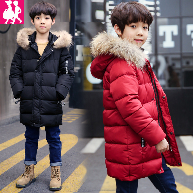 2018 Boys Winter Jackets Fur Hooded Teenage Boys Winter Coats Children cotton Jackets Kids Outerwear Zipper Duck Down Parks <br>