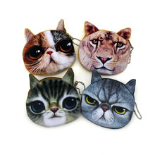 Promotion Oval 3D Animal Prints Mini Children Coin Bags Women Storage Pouch Cute Cat & Dog Wallets Kids Coin Purses Card Holders