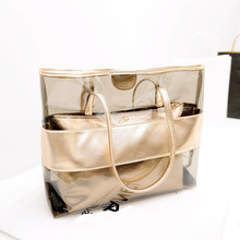2016 new Korean women bag hit color stitching transparent plastic jelly bolsas femininas women messenger bags beach bag