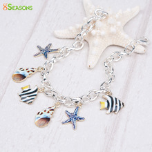 "8SEASONS Clip on Charms Bracelets Link Cable Chain Silver color Multicolor Marine Animal 20.2cm(8"") long, 1 Piece"