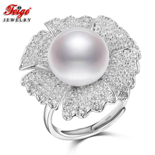 FEIGE Luxury Elegant Big Flower Pearl Ring 925 Sterling Silver Ring Bijoux 12-13MM White Freshwater Pearl Jewelry for Women Gift(China)