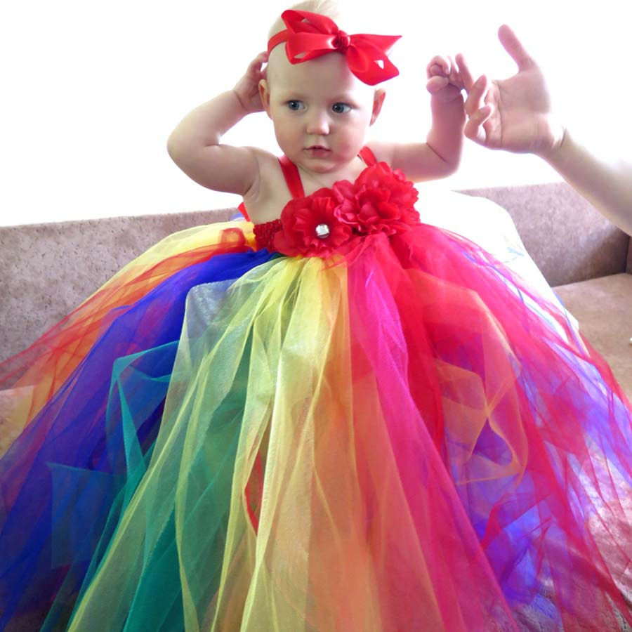 Rainbow Tutu Dress with Hair Bows for Girls Children Christmas Holiday Birthday Party Kids Wedding Dress TS093<br><br>Aliexpress