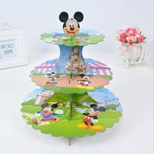 Ynaayu 1pcs Mouse Carton 3 Tier Cupcake Stand Paperboard Cake Stand Cupcake Display Stand Foy Baby Birthday Party Supply(China)