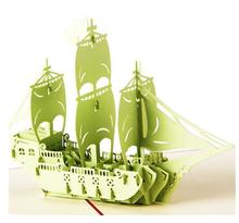 3D Pop Up Origami Paper Laser Cut Greeting Cards Handmade Kirigami Sailing Boat Birthday Christmas Anniversary Postcards Gift(China)