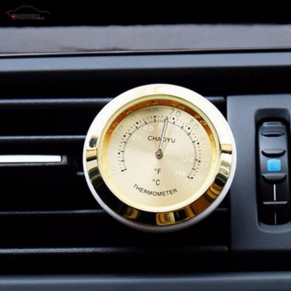 Auto Air Conditioning Outlet Perfume Ornaments Oil Car Thermometer Luminous Material Car clock Auto Electronic Watch