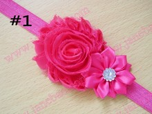 free shipping 20pcs Shabby Flower Headband Newborn Hair Bow Little Girls Hairbow Shabby chic headband