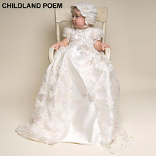 baby girl christening gowns 1 year girl baby birthday dress handmade silk Lace baby baptism dress vestidos infantil girl dress(China)