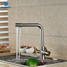 ULGKSD New Design Kitchen Faucet Purification Water Filter Kitchen Tap Pull Down Two Spout Faucet Hot and Cold Mixer Taps