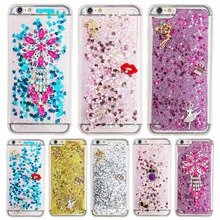 Bling Glitter Rhinestone Moving Quicksand Soft TPU Case for iPhone 4S 5S SE 5C 6S 6 7 Plus iPod touch 5 6 Cover Fundas LZYB002