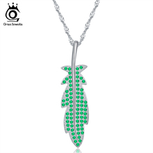 ORSA JEWELS Green Leaf Pendants For Women Silver Color Necklaces Girls Fashion Trendy Jewelry Lucky Accessories ON84