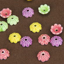 SEA MEW 50 PCS Ceramic Bead Caps Base Setting 10*4mm Ceramic Flower Base DIY Charms Connectors Accessories YS72(China)