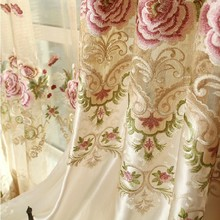 abbiemao European flower embroidery curtain Luxury tulle for living room and bedroom window screen curtain cloth and tulle(China)