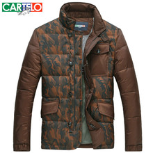 Cartelo/brand Slim 90% Duck Camouflage Men's Casual Down Jacket Winter Collar Hit Color Business Jackets Thick Coat(China)